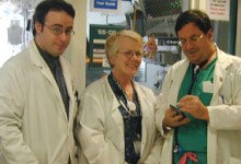 Dr. Marc Shapiro (right) with intensivist colleagues in our SICU.