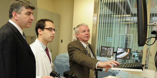 Dr. Michael Polcino, a fourth-year resident, in Sim Center