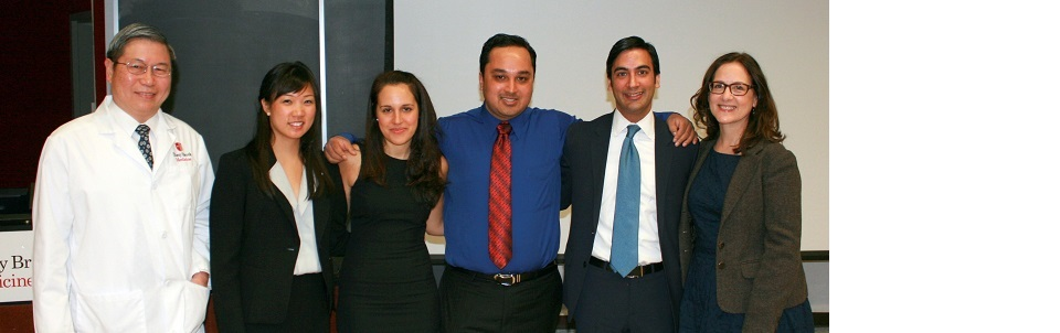 From left to right: Dr. Vincent Yang, Chair of Medicine, Dr. Christine Garcia, Dr. Carine Hamo, Dr. Anubhav Kumar, Dr. Ankur Ahuja, and Dr. Susan Lane, Vice Chair of Education